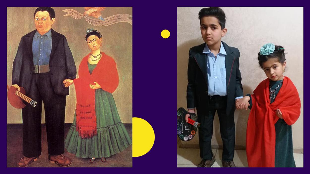 Картина «Фрида и Диего Ривера» в исполнении детей Тамары Абд Алкадер – сына Шади и дочери Сальмы