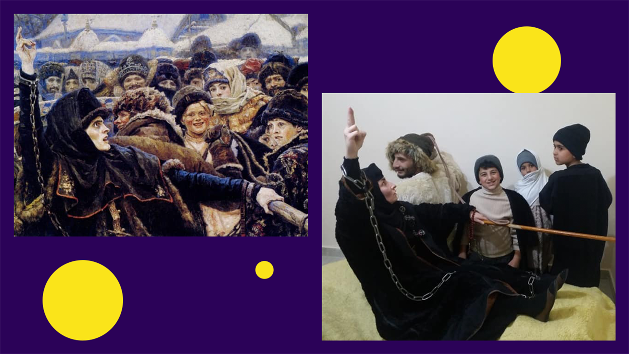 Фрагмент картины Василия Сурикова «Боярыня Морозова» в исполнении Тамары Абд Алкадер и ее родных