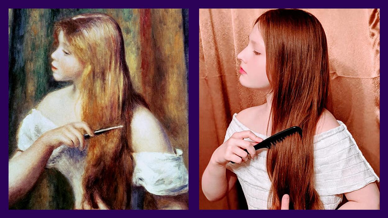 «Блондинка, расчесывающая волосы» Пьера Огюста Ренуара в исполнении Веры, дочери Юлии Кулиненко