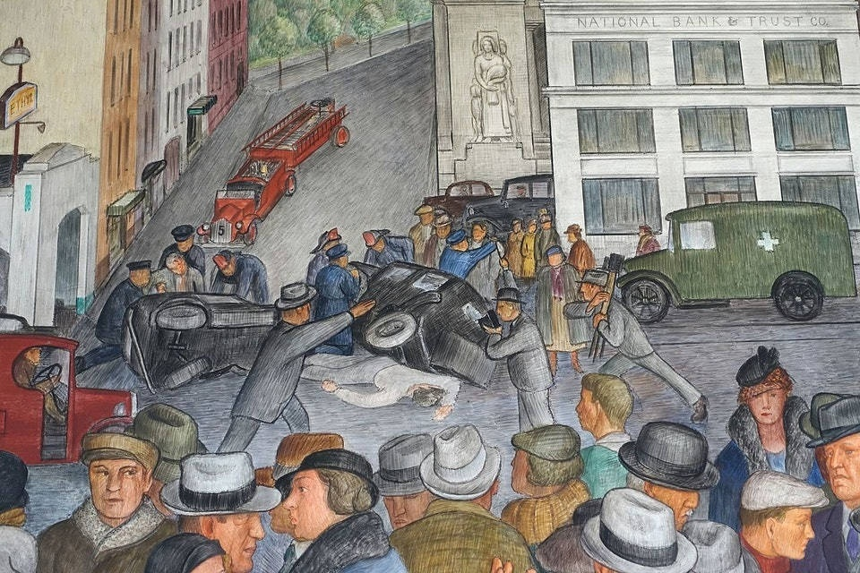 Фрагмент фрески «Городская жизнь»