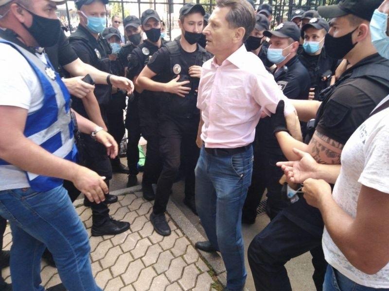 Михаил Волынец во время протестов шахтеров в Киеве в июле 2020 года