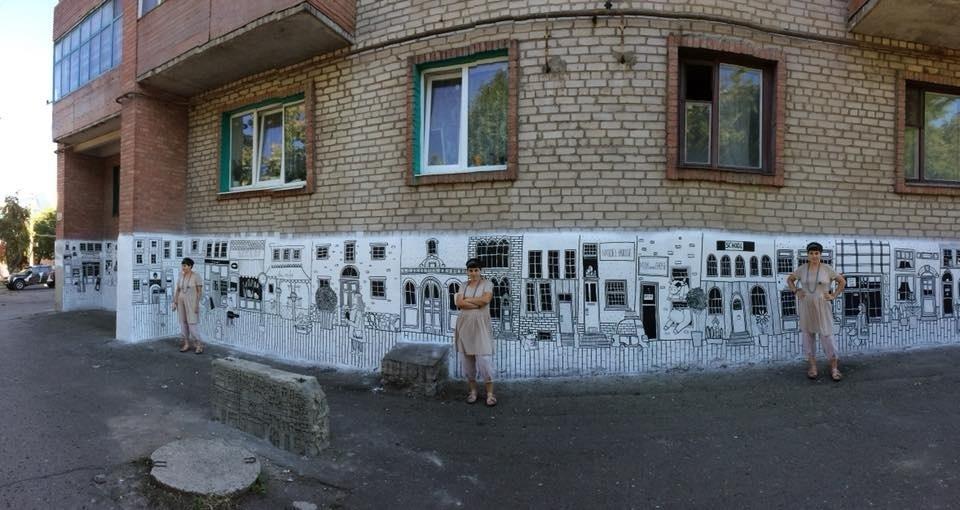 Роспись цокольного этажа от Маши Вышедской по ул. Горбатова, 30 в Бахмуте